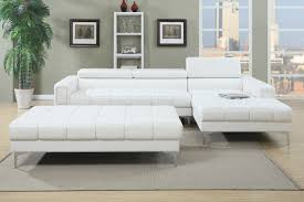 Tufted Living Room Set 3pc White Black Bonded Leather Tufted Sectional Sofa With Ottoman