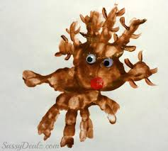 rudolph the nosed reindeer handprint project for