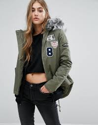 missguided badge faux fur collar parka in natural lyst