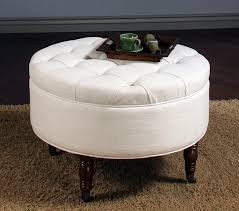 white round fabric ottoman coffee table with storage and dark