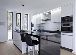 modern black vinyl bar stools combined black and white kitchen