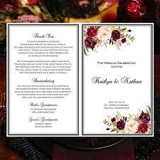 Wedding Bulletin Template Wedding Program Template Burgundy Red Blush Pink Marsala