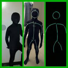 Glow Halloween Costume Glow Stick Costume Wear Black Clothing Activate