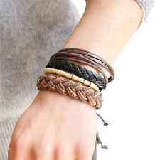 leather bracelet woman images Hand band fancy new woven leather bracelet bangle for woman men jpg