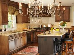 rustic tuscan kitchen ideas vintage chandelier beige painted