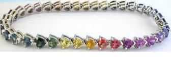 gold sapphire bracelet images 18 ctw heart shape rainbow sapphire bracelet in 14k white gold jpg