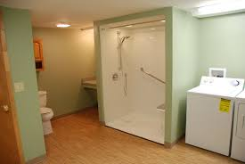 Laundry In Bathroom Ideas by Bathroom Giant Stall Shower Near Twin Laundry Machines In