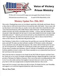 thanksgiving and kids ministry updates the voice of victory prison ministry
