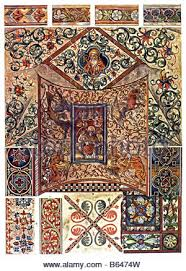 historical ceiling paintings wall ornaments and window panel at