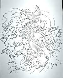 black outline leviathan with koi fish stencil by ramon koi