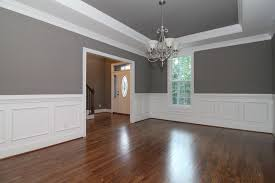 Dining Rooms With Wainscoting White Wainscoting Walls In The Formal Dining Room With Sw 7018