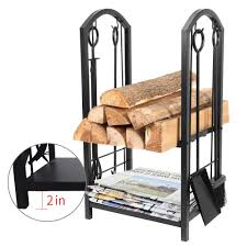 fireplace log rack with 4 tools indoor outdoor fireside firewood