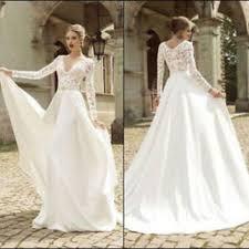 Long Sleeve Wedding Dresses White V Neck Long Sleeve Wedding Dress From Sun Hgf On Ebay