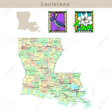 Louisiana State Map by Usa States Series Louisiana Political Map With Counties Roads