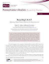 falvey memorial library villanova university digital recycling c r a p reframing a popular research mnemonic for