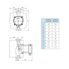 central heating pump grundfos alpha 2 l 25 40 180