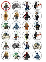 wars edible image 24 lego wars edible wafer paper cup cake toppers