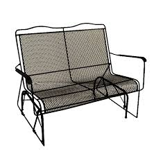 Patio Glider Bench Shop Davenport Black Wrought Iron Mesh Patio Loveseat Glider At