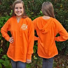 monogrammed hooded pullover