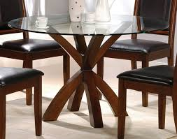 Black Leather Chairs And Dining Table Simple Round Glass Top Dining Tables With Wood Base And Chairs