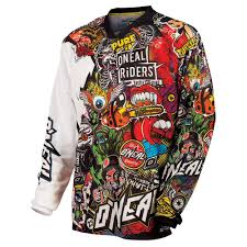 motocross jerseys amazon com o u0027neal mayhem crank men u0027s jersey black multi x large
