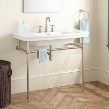 Bathroom Console Vanity Olney Porcelain Console Sink With Brass Stand Bathroom