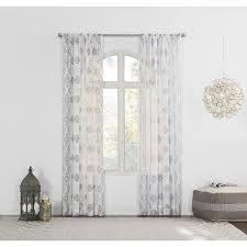 Sheer Gray Curtains by No 918 Marseilles Distressed Border Print Sheer Curtain Panel As