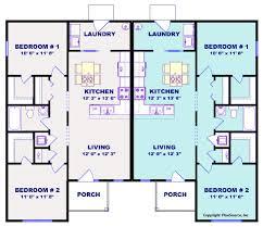 2 Bedroom Duplex Plans Duplex House Plan J1019 16d Plansource Inc