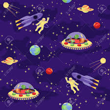 funny kids seamless pattern with space rocket ufo and friendly