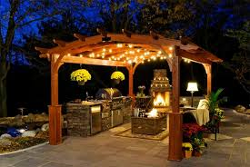 Pergola Ideas For Small Backyards Decorative Outdoor String Lighting For Cool Pergola Design With