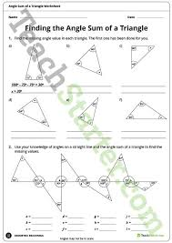 finding the angle sum of a triangle worksheet teaching resource