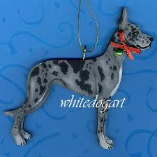 custom blue merle great dane ornament by whitedogart