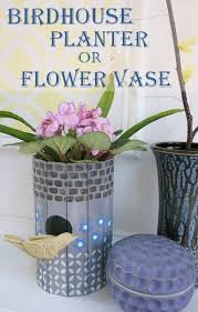 Decorate Flower Vase Diy Craft Tutorial Recycle A Birdhouse Into A Planter Or Flower