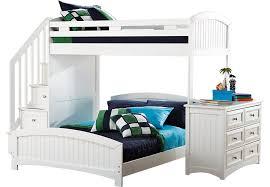cottage colors white twin full step loft with dresser bunk loft