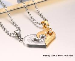 couples necklace n19 stainless steel heart couples necklace pridecoast