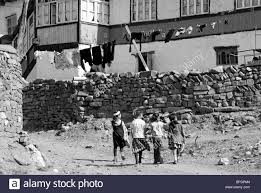 Old Fashioned House Azerbaijan Xinaliq View Of Old Fashioned House With Clothesline
