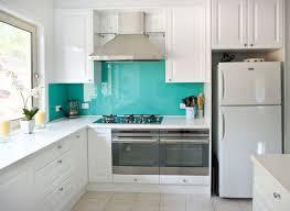 Glass Backsplashes For Kitchens Kitchen Kitchen With Turquoise Back Painted Glass Backsplash Via