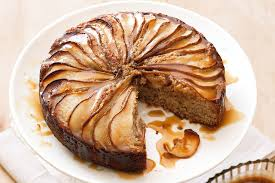 spiced pear cake with butterscotch sauce
