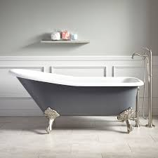 66 inch dark gray and white color standalone tub with cast iron