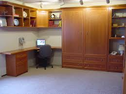 L Shaped Office Desk Dimensions by L Shaped Brown Lacquer Oak Wood Murphy Bed With Office Desk And