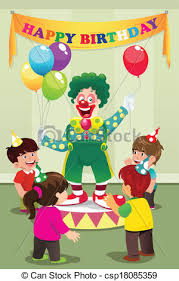 two cheerful clowns birthday children bright stock photo a vector illustration of clown carrying balloons to kids clipart