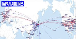 American Route Map by International Flights Japan Airlines Route Map