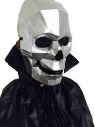 silver mask cyborg skull silver mask front cape fancy
