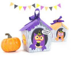 Halloween Paper Crafts by Diy Halloween Owl House Treat Box Printable Gift Box Diy