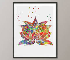 Zen Decor Lotus Flower Watercolor Poster Lotus Plant Watercolor Art Print