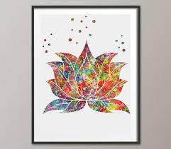 Zen Decor by Lotus Flower Watercolor Poster Lotus Plant Watercolor Art Print