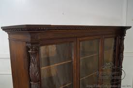 Oak Bookcases With Doors by Horner Antique Oak Acanthus Carved Column Front 3 Door Claw Foot