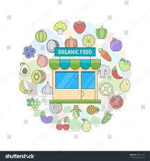 organic food shop design template flat stock vector 636641149