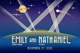 art deco space themed wedding rsvp and invitation forge22 design
