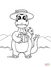 Dinosaur With Gift Box Coloring Page Free Printable Coloring Pages Box Coloring Pages
